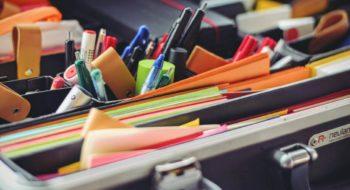 Office utensils and folders